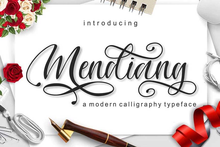Mendiang Script Font