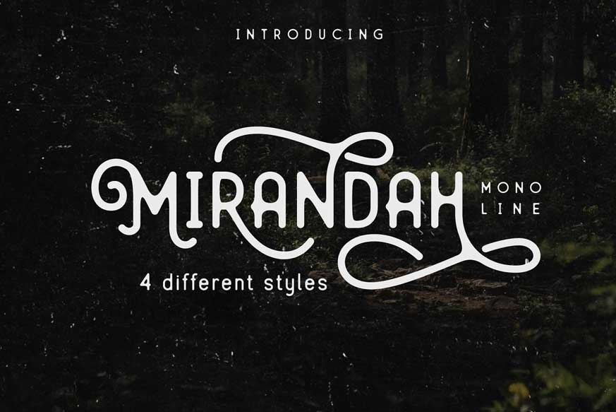 Mirandah | Monoline Font Family