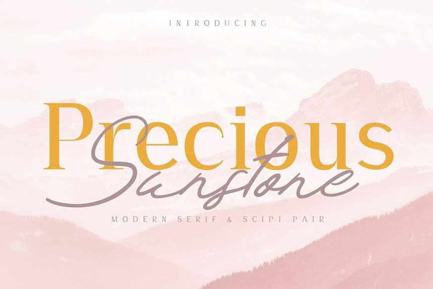 Precious & Sunstone Modern Font Duo