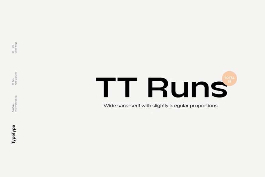 TT Runs Font Family - 20 Fonts - $780