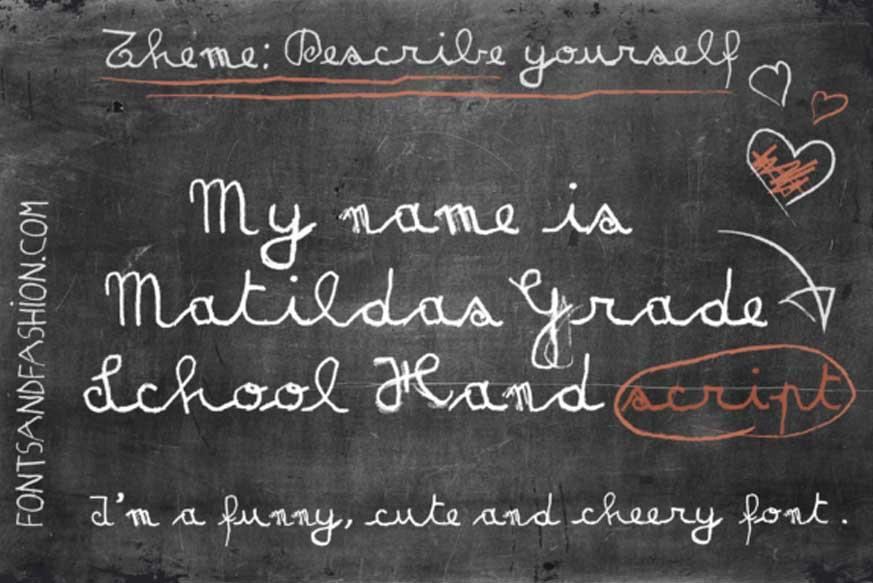 Matilda's Grade School Hand Script