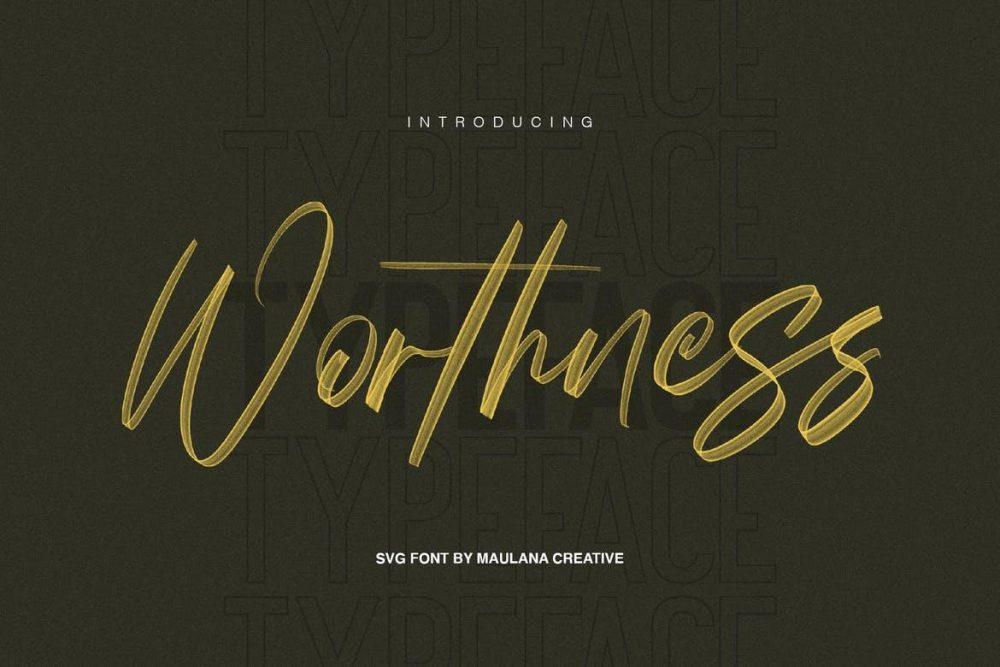 Worthness SVG Brush Font